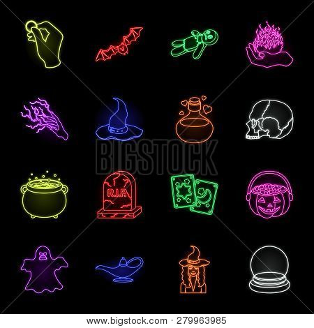 Neon And White Magic Neon Icons In Set Collection For Design. Attributes And Sorceress Accessories V