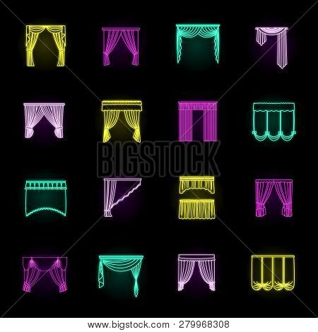 Different Kinds Of Curtains Neon Icons In Set Collection For Design. Curtains And Lambrequins Vector