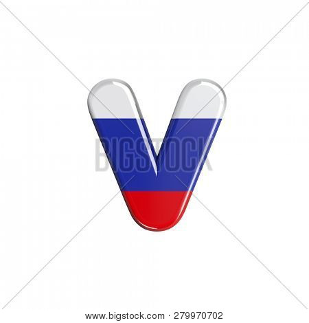 Lowercase Russia font V isolated on white background. This font collection is well-suited for various projects related but not limited to Russia, politics, economics...