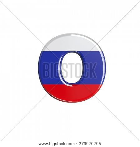 Russia flag font O isolated on white background. This font collection is well-suited for various projects related but not limited to Russia, politics, economics...