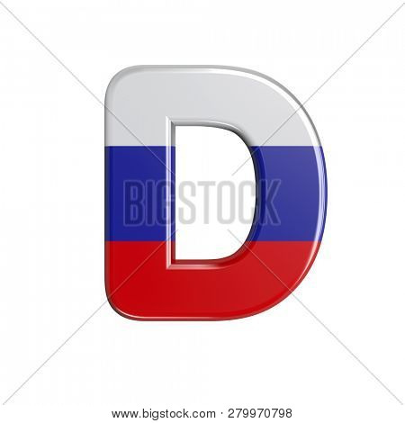 Russia flag font D isolated on white background. This font collection is well-suited for various projects related but not limited to Russia, politics, economics...