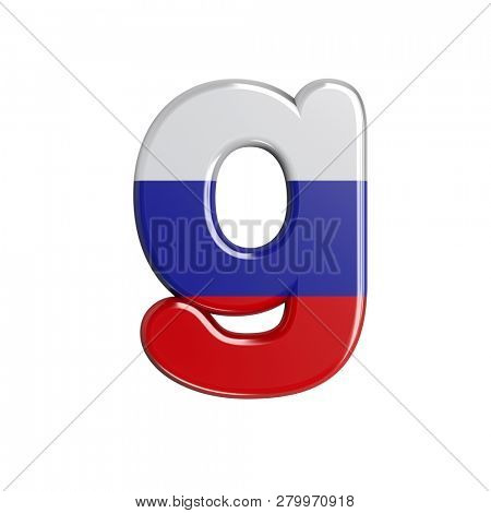Lowercase Russia font G isolated on white background. This font collection is well-suited for various projects related but not limited to Russia, politics, economics...