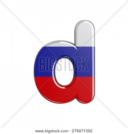 russian flag letter D isolated on white background. This font collection is well-suited for various projects related but not limited to Russia, politics, economics...
