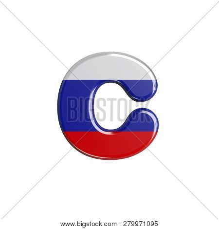 Small Russia font C isolated on white background. This font collection is well-suited for various projects related but not limited to Russia, politics, economics...