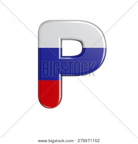 Upper-case Russia flag character P isolated on white background. This font collection is well-suited for various projects related but not limited to Russia, politics, economics...