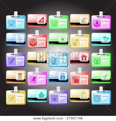 Vector set of id cards. 25 elements.
