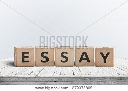 Essay Note On A White Table In A Bright Room Made Of Wooden Blocks