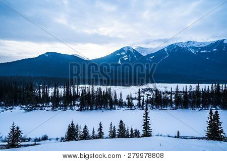 Winter Mountain Scene At Vermillion Lakes In The Canadian Rockies, Outside Of Banff Alberta