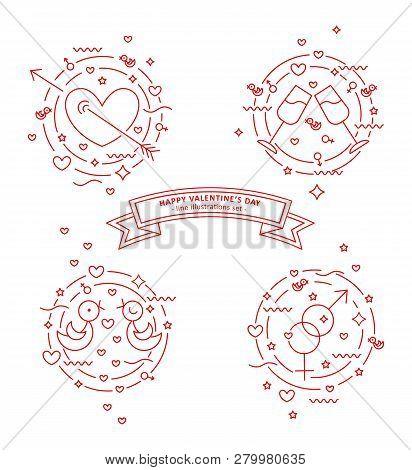 Happy Valentins Day. Set Of Line Illustrations. Pierced Heart, Love Doves, Stemware, Gender Signs. V