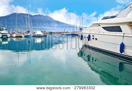 Scenery Of Kalamata Port Messinia Peloponnese Greece - Water Reflections Of Yachts And Sailboats