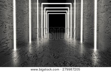 Monochrome Dark Background Of Empty Space. Grunge Concrete Walls And Floor, Neon Light, Smoke. 3D Il