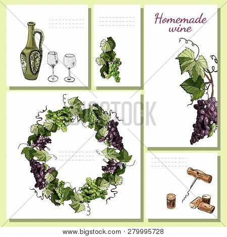 Templates For Menu, Invitation Or Labels With Wine Product Elements, Twigs Of Grape And Wreath. Hand
