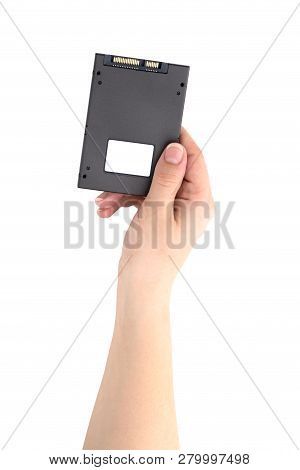 SSD drive isolated on white background. Internal ssd drive in hand on a white background. poster