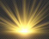 Sunlight isolated. Golden sun rays radiance. Yellow bright spotlight transparent sunshine starburst illustration poster