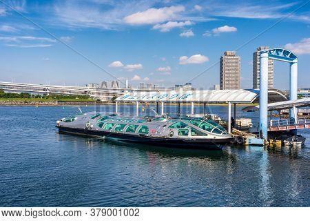 Tokyo / Japan - October 18, 2017: Himiko Futuristic Tokyo Tourist Cruise Ship, With Design Inspired