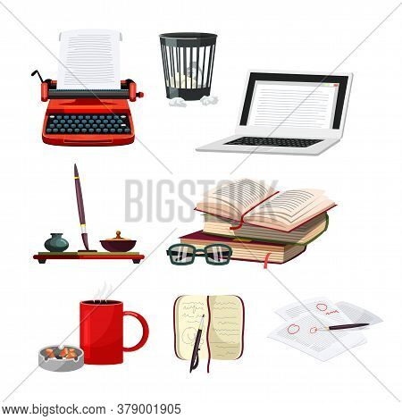 Writer Cartoon Accessories And Attribute Set. Object For Creation Process. Hobby Or Profession. Type