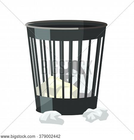 Plastic Wheelie Bin With Crumpled Paper Sheets Inside And Out. Trash Can. Dumpster Iron. Cartoon Obj