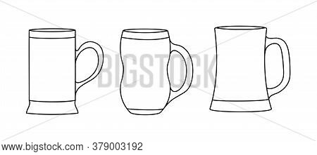 Set Of Beer Mugs. Empty Outline, Simple Style, Isolated On A White Background