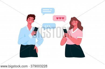 Virtual Relationships, Online Dating, Social Networking Concept During Lockdown. Man And Woman Chatt