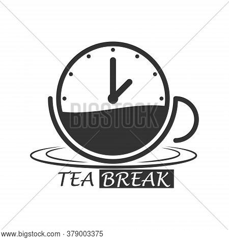 Cup Of Hot Tea With A Clock And The Inscription Tea Break. Simple Icon Isolated On A White Backgroun