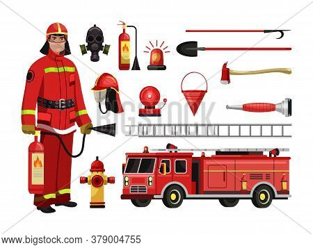 Fire Department Equipment, Firefighter In Red Protective Uniform, Mask, Helmet. Fire Extinguisher, F