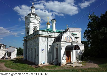 Moscow, Russia - June 24, 2019: Church of St. George the Victorious in the Museum reserve Kolomenskoye. Medieval Russian architecture