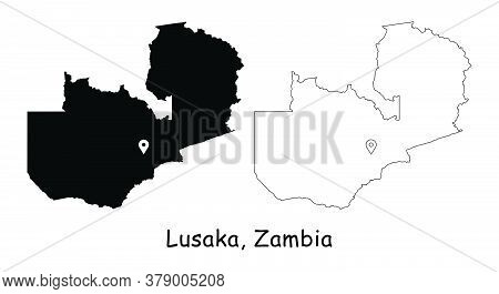 Lusaka, Zambia. Detailed Country Map With Location Pin On Capital City. Black Silhouette And Outline