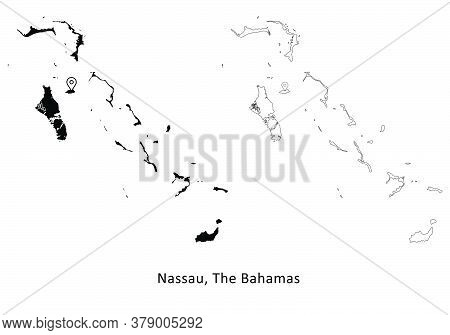 Nassau The Bahamas. Detailed Country Map With Capital City Location Pin. Black Silhouette And Outlin
