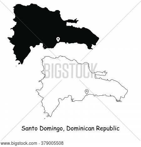 Santo Domingo Dominican Republic. Detailed Country Map With Location Pin On Capital City. Black Silh