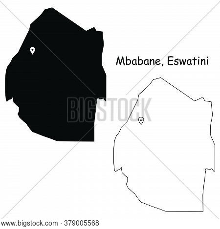 Mbabane Eswatini. Detailed Country Map With Location Pin On Capital City. Black Silhouette And Outli