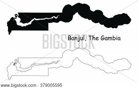 Banjul The Gambia. Detailed Country Map With Location Pin On Capital City. Black Silhouette And Outl