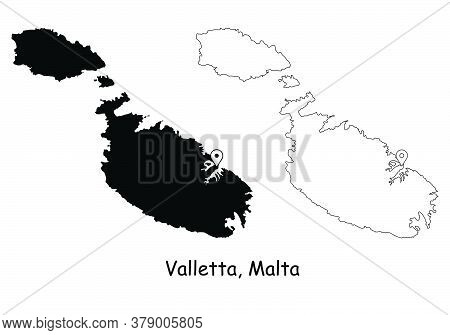 Valletta Malta. Detailed Country Map With Location Pin On Capital City. Black Silhouette And Outline