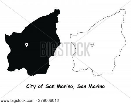 City Of San Marino, San Marino. Detailed Country Map With Location Pin On Capital City. Black Silhou