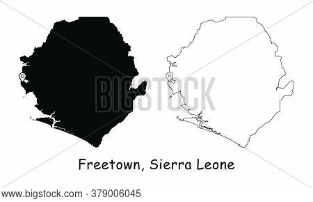 Freetown, Sierra Leone. Detailed Country Map With Location Pin On Capital City. Black Silhouette And