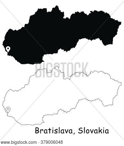 Bratislava, Slovakia. Detailed Country Map With Location Pin On Capital City. Black Silhouette And O