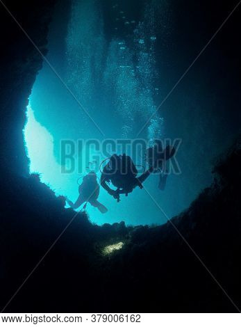 Underwater Photo From A Scuba Dive Inside The Caves Of Koh Haa In Thailand.