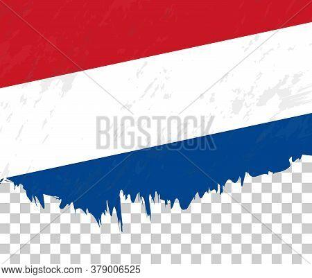 Grunge-style Flag Of Netherlands On A Transparent Background. Vector Textured Flag Of Netherlands Fo