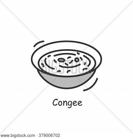 Congee Icon. Simple Traditional Chinese Breakfast Rice Porridge Bowl Linear Pictogram. Concept Of Ta