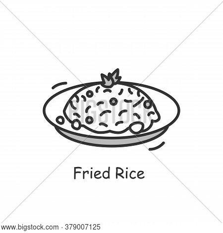 Fried Rice Icon. Chinese Stir-fry Bowl With Vegetables, Meat Or Seafood Ingredients Linear Pictogram