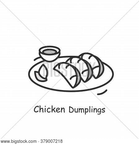 Chicken Dumplings Icon. Chinese Meat Stuffed Streamed, Boiled Or Deep Fried Dough Buns Plate With Sa