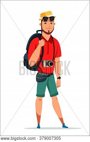 Young Excited Friendly Smiling Man Tourist Backpacker With Rucksack Baggage And Camera Standing Isol