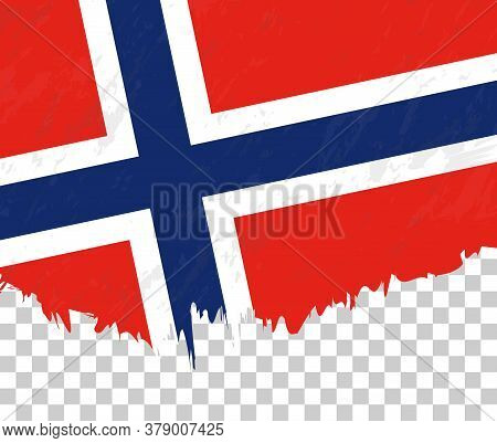 Grunge-style Flag Of Norway On A Transparent Background. Vector Textured Flag Of Norway For Vertical