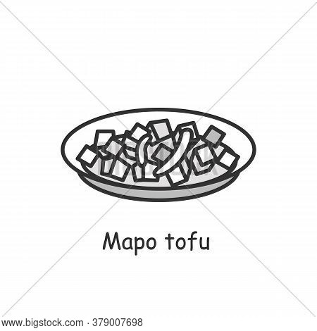 Mapo Tofu Icon. Chinese Vegetarian Or Meat Sichuan Cuisine Fermented Soy Bean Dish Linear Pictogram.