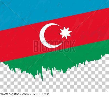 Grunge-style Flag Of Azerbaijan On A Transparent Background. Vector Textured Flag Of Azerbaijan For