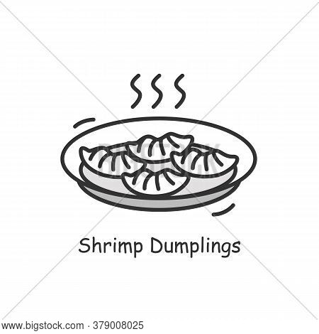 Shrimp Dumplings Icon. Appealing Hot And Fresh Chinese Fried Seafood Stuffed Dumplings Plate Line Pi
