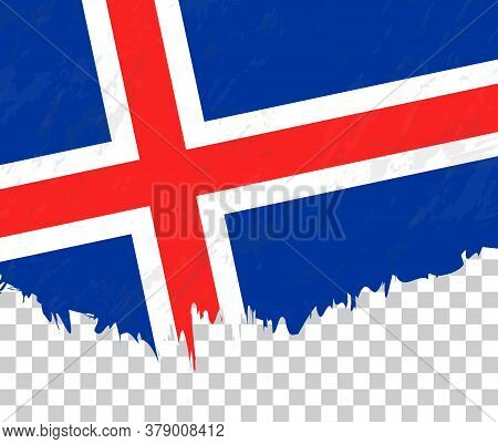 Grunge-style Flag Of Iceland On A Transparent Background. Vector Textured Flag Of Iceland For Vertic