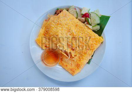 Vietnamese Styled Stuffed Crispy Egg Crepe, Local Dessert Made From Many Kinds Of Vegetable, Shrimp,