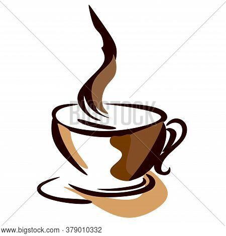 International Coffee Day. Concept Of A Food Event.a Cup Of Brown Coffee With Splashes Of Coffee, On