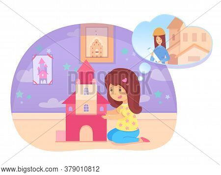 Preschool Girl Building House On Floor Dreaming Become Builder. Cute Child Playing In Playroom Or Be