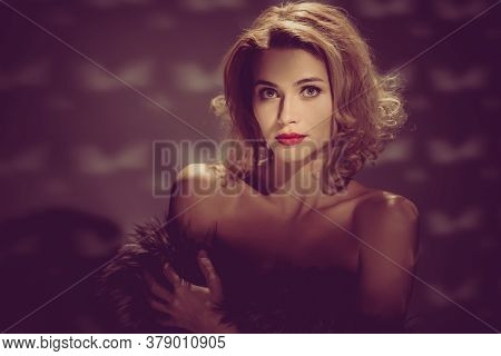 Retro Portrait Of Gorgeous Elegant Bonde Woman In Luxury Fur